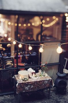 cafe with string lights