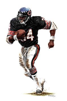 "Chicago Bears ""Walter Payton"" watercolor by Bruce Tatman Nfl Football Players, Bears Football, Nfl Chicago Bears, Football Art, Football Helmets, Football Rules, Chicago Art, Chicago Style, School Football"
