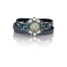 "Beau Monde Leather Wrap Bracelet - $48 Stingray embossed leather...Gray mother-of-pearl inlay/Cream pearl/Teal glass/Light aqua resin/Black diamond crystal 22.25"" adjustable fit...Buckle closure"