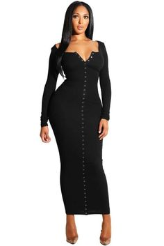 Women Long Sleeve Snap Button Casual Ankle Length Bodycon Ribbed Maxi Dress, Black, Size S (US V Neck Black Dress, Black Long Sleeve Dress, Cheap Club Dresses, Maxi Robes, Maxi Dresses, Casual Dresses, Party Dresses, Ribbed Dress, Dress First