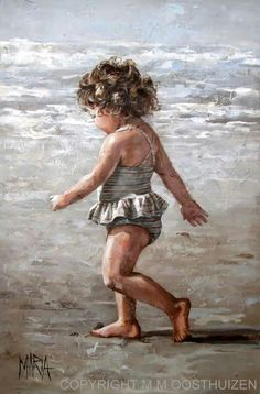 South African artist Maria Magdalena Oosthuizen paints figurative portraits emanating innocence and hope that pay tribute both to her devotion to God and her belief in the intrinsic goodness of the people of this world. Art Plage, Maria Magdalena, South African Artists, Painting People, Am Meer, Beach Scenes, Beach Art, Beautiful Paintings, Love Art