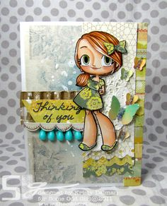 LOVE the corrugated board and blue beads on this gorgeous Some Odd Girl stamps card!