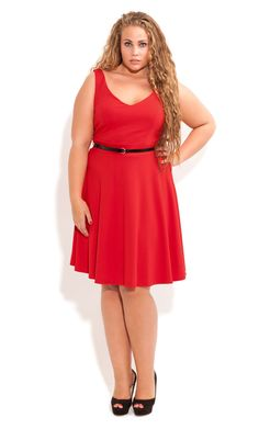 0a2f98b7994 City Chic - Deep V Skater Dress - Women s plus size fashion