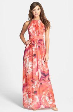 [ FASHION : Gorgeous floral print chiffon maxi dress.]