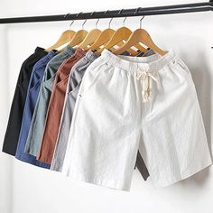 2018 summer New Fashion Mid Elastic Waist Loose Casual Solid Quality Summer New Flax Man Blue White Beach Thin Linen Men Shorts Mens Linen Shorts, Men Shorts, Surf Shorts, Jungs In Shorts, Cheeky One Piece Swimsuit, Clothing Photography, New Fashion, Ideias Fashion, Casual Shorts