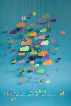 Papier kunsten door Zim and Zou Zou, Illustration Arte, Paper Clouds, Colorful Clouds, Arts And Crafts, Paper Crafts, Grafik Design, Mobiles, Cloud