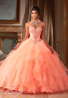 Beautiful and elegant, make a lasting impression wearing Mori Lee Vizcaya Quinceanera Dress Style 89115 at your Sweet 15 party. Made out of organza, this Quince dress features a strapless sweetheart b