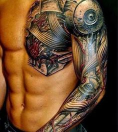Mechanical full arm tattoo
