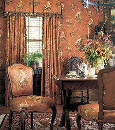 Warm Animal Wallpaper Ideas And Classic Chairs With Cushions Also Perfect Dark Dining Table Furniture