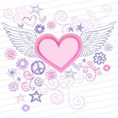 Hand-Drawn Sketchy Heart with Angel Wings Doodles with Stars, Flowers, and Peace Sign on Lined Notebook Paper Background- Vector Illustration Heart Coloring Pages, Free Adult Coloring Pages, Coloring Books, Doodle Images, Doodle Art, Heart Doodle, Valentines Day Doodles, Peace Sign Tattoos, Drawing Hands
