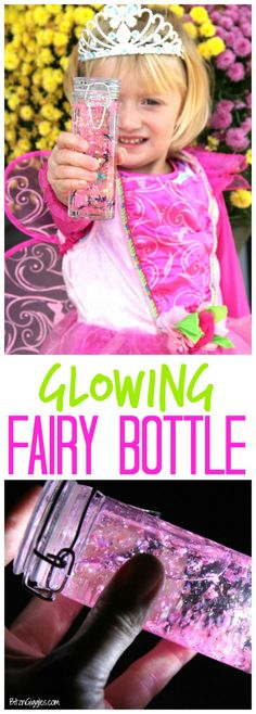 Glowing Fairy Bottle - A magical craft to do with little children that can be used as a night light, calming jar or basic sensory activity! Kids love how they glow!!