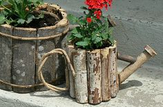 My daughter and I spent a few hours planting pots today. I decided to go with a red and white theme when choosing plants this morning. Wood Log Crafts, Wooden Spool Crafts, Twig Crafts, Garden Crafts, Diy Garden Decor, Diy Wood Projects, Wooden Diy, Garden Projects, Fairy Garden Furniture