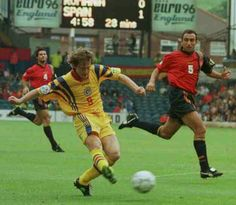 Spain 2 Romania 1 in 1996 at Elland Road. Florin Raducioiu equalises for Romania on 29 minutes in Group B at Euro '96.