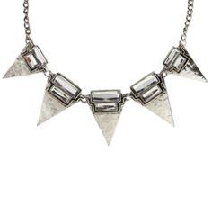 Maxi colar prateado geométrico R$26