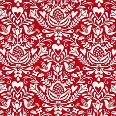 Moda North Woods Rosemaling Cranberry from @fabricdotcom  Designed by Kate Spain by Moda, this beautiful, modern, Christmas collection features Nordic design elements for a simple but elegant cohesive design. Perfect for quilting, apparel, and home decor accents. Colors include red and off-white.