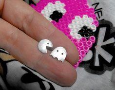 Pacman stud earrings. Handmade in sterling silver
