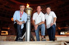 LAS VEGAS, NV - JULY 25: (L-R) Singer Taylor Hicks, hypnotist Anthony Cools and entertainer Donny Osmond appear after a ceremonial torch relay at The Forum Shops at Caesars on July 25, 2012 in Las Vegas, Nevada. (Photo by David Becker/WireImage). #theforumshops #torchrelayrace #specialolympics #donnyosmond #caesarspalace #taylorhicks #anthonycools