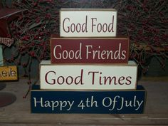New Four Piece Happy Fourth Of July Wood Sign by BusyMamasPlace, $23.99