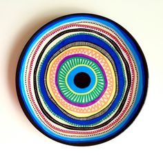 Items similar to Decorative Plate - Bohemian Mandala Arabesque - Original hand-painted Artwork - Wall Hanging - Decorative Accessory on Etsy - Colorful Mandala – Decorative Plate – Rainbow Decor – Colorful Art – Wall… - Pottery Painting Designs, Paint Designs, Pottery Art, Ceramic Painting, Ceramic Art, Ciel Art, Evil Eye Art, Spiral Art, Art Diy