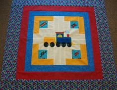 Cute Train, Log Cabin and Applique Baby Quilt Top