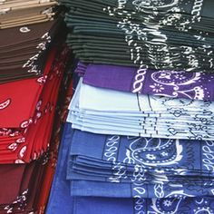 Bandanas are available in a variety of colors and designs.