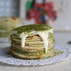 Matcha Mille Crepes ~ An individual serving of crepe cake with Matcha custard cream!
