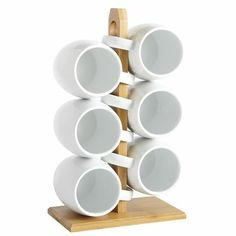 Mugs on Bamboo Stand (maybe paper towel holder with hand decorated mugs for coffee bar) :o) This weeks craft! :o)
