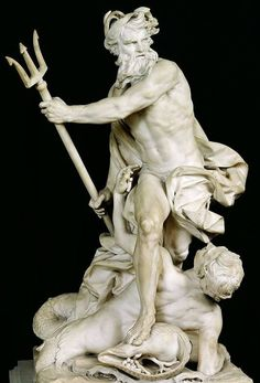 Pictures of Neptune, the Roman god of the Sea (that's how the Greek god Poseidon is called in art) Roman Sculpture, Sculpture Art, Poseidon Statue, Statue Antique, Greek And Roman Mythology, Greek Statues, Greek Gods And Goddesses, Adam Lambert, Greek Mythology