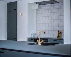Linoleum Kitchen by shufl · Copenhagen based Kitchen company Kitchen Reno, Kitchen Design, New Kitchen Inspiration, Stylish Kitchen, Little Kitchen, Blue Walls, Kitchens, Furniture, Home Decor