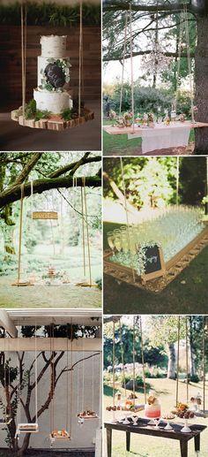 food bar and wine table on wedding swings