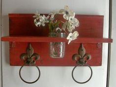 Primitive Country Craft Ideas | Country Primitive Cottage Bathroom or Kitchen Fleur de Lis Towel Rings ...
