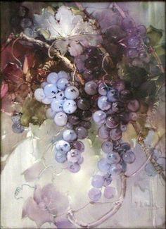 Grape Painting, Fruit Painting, China Painting, Watercolor Fruit, Watercolor Paintings, Fruit Art, Painting Inspiration, Grape Vines, Artwork