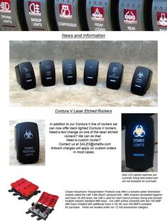 Heavy Duty rocker switches for every type of accessory you could add to your vehicle. Custom labeling available.