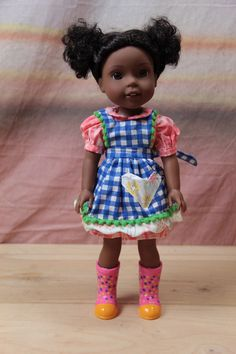 Handmade Checkered Apron Dress Outfit for AMERICAN GIRL Wellie Wishers Dolls #Unbranded