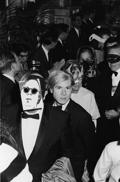 Andy Warhol at Truman Capote's Black and White Ball, 1966. The only guest who turned up without a mask.