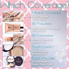 Younique's foundations and the coverage they give.