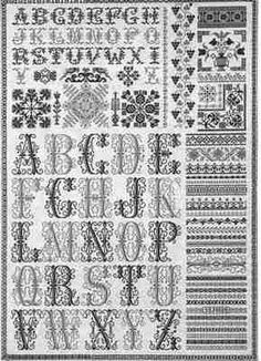 ABC Sampler is the title of this cross stitch pattern from Jan Houtman that is stitched with two DMC colors (319 and 522) or color/fiber of your choice. An intricate sampler that features a band sampler and alphabet.