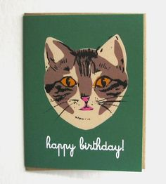 Green Cat Happy Birthday Card Pack by La Familia Green on Scoutmob Shoppe