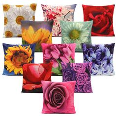 Colorful 3D Flower Series Short Plush Throw Pillow Case Home Sofa Car... (€3,61) ❤ liked on Polyvore featuring home, home decor, throw pillows, multi color throw pillows, colorful home decor, car home decor, floral throw pillows and flower throw pillows