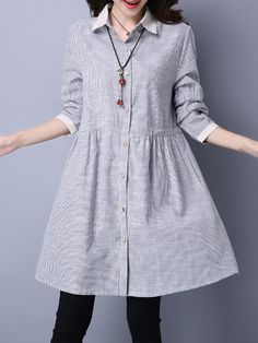 Shirt Collar Women Black Shift Going out Long Sleeve Cotton Casual Pockets Striped Dress Stylish Dress Designs, Stylish Dresses, Cute Dresses, Casual Dresses, Hijab Fashion, Fashion Dresses, Desi Wedding Dresses, Shirtwaist Dress, Kurta Designs