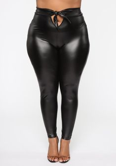 Available In Black And Burgundy Tie Waist Pu Leather Leggings High Rise Stretch Pull On Polyester Spandex Made In USA Leather Leggings Outfit, Shiny Leggings, Faux Leather Leggings, Black Leggings, Leather Pants, Plus Size Inspiration, Bodycon Dress With Sleeves, Pants For Women, Clothes For Women
