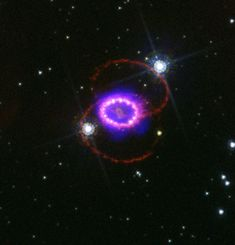 Two-Star Collision Yields Three-Ring Nebula. ChallisSupernova 1987A occurred in the Large Magellanic Cloud, a galaxy only 160,000 light years from Earth. The outburst was visible to the naked eye, and is the brightest known supernova in almost 400 years.