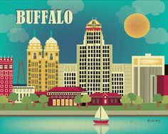 Buffalo, New York Skyline, City Wall Poster Print Art for Homes, Offices, and Nursery rooms -Brand New - Skyline Art, New York Skyline, Voyage Usa, Buffalo New York, Buffalo Art, Hallmark Greeting Cards, America Images, Poster Prints, Art Prints