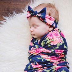 Swaddle Set - Secret Garden Swaddle Blanket & Headband Set In Dark Navy