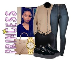 """PRINCESS"" by sammy-pinckney ❤ liked on Polyvore featuring River Island, Vibrant, MANGO, Puma and Versace"