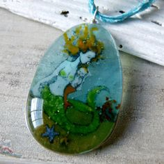 Mother Mermaid and Baby necklace   fused glass by ArtoftheMoment