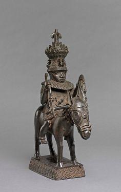 Cast bronze sculpture of a figure riding a horse. Nigeria,Edo State,Benin City. | © Trustees of the British Museum