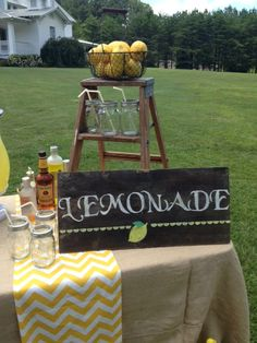 Lemonade Stand idea for a wedding, party or event...
