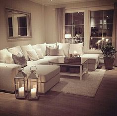 My perfect cosy living room! Someone please buy me a sofa just like this :-)…. My perfect cosy living room! Someone please buy me a sofa just like this :-)…. but maybe in a more grey shade- I cannot be trusted with this much white Romantic Living Room, Cozy Living Rooms, Living Room Sofa, Home Living Room, Apartment Living, Living Room Designs, Cozy Apartment, Living Room Goals, U Shaped Couch Living Room