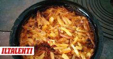 Uunissa valmistuva jauheliha-perunakiusaus maustetaan tacomausteella. Tex Mex, Meat, Chicken, Recipes, Food, Essen, Meals, Ripped Recipes, Eten